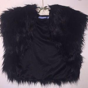 Black faux fur bolero jacket with satiny lining